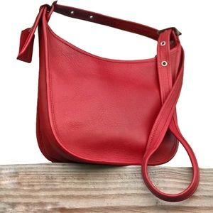 Red Coach Leather Crossbody Vintage 100% Leather